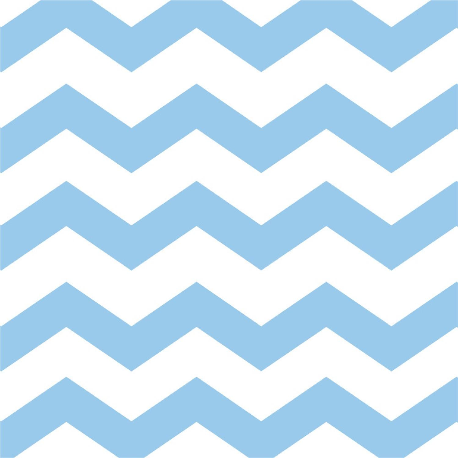 Club Pack of 384 Pastel Blue Chevron and Polka Dot 2-Ply Beverage Party Napkins 5""