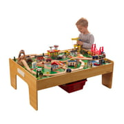 KidKraft Adventure Town Railway Wooden Train Set & Table with EZ Kraft Assembly with 120 accessories included