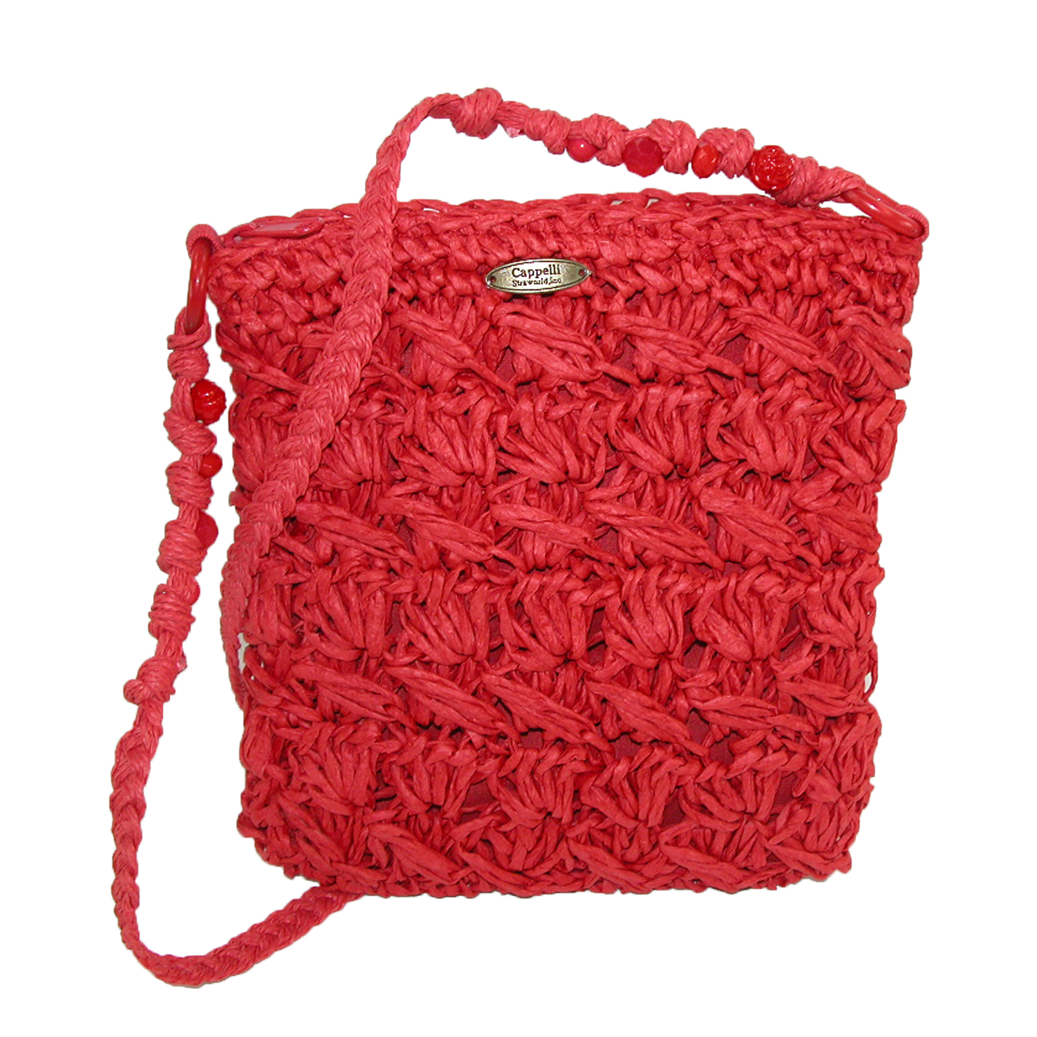 Cappelli  Women's Crocheted Crossbody Handbag with Beaded Strap