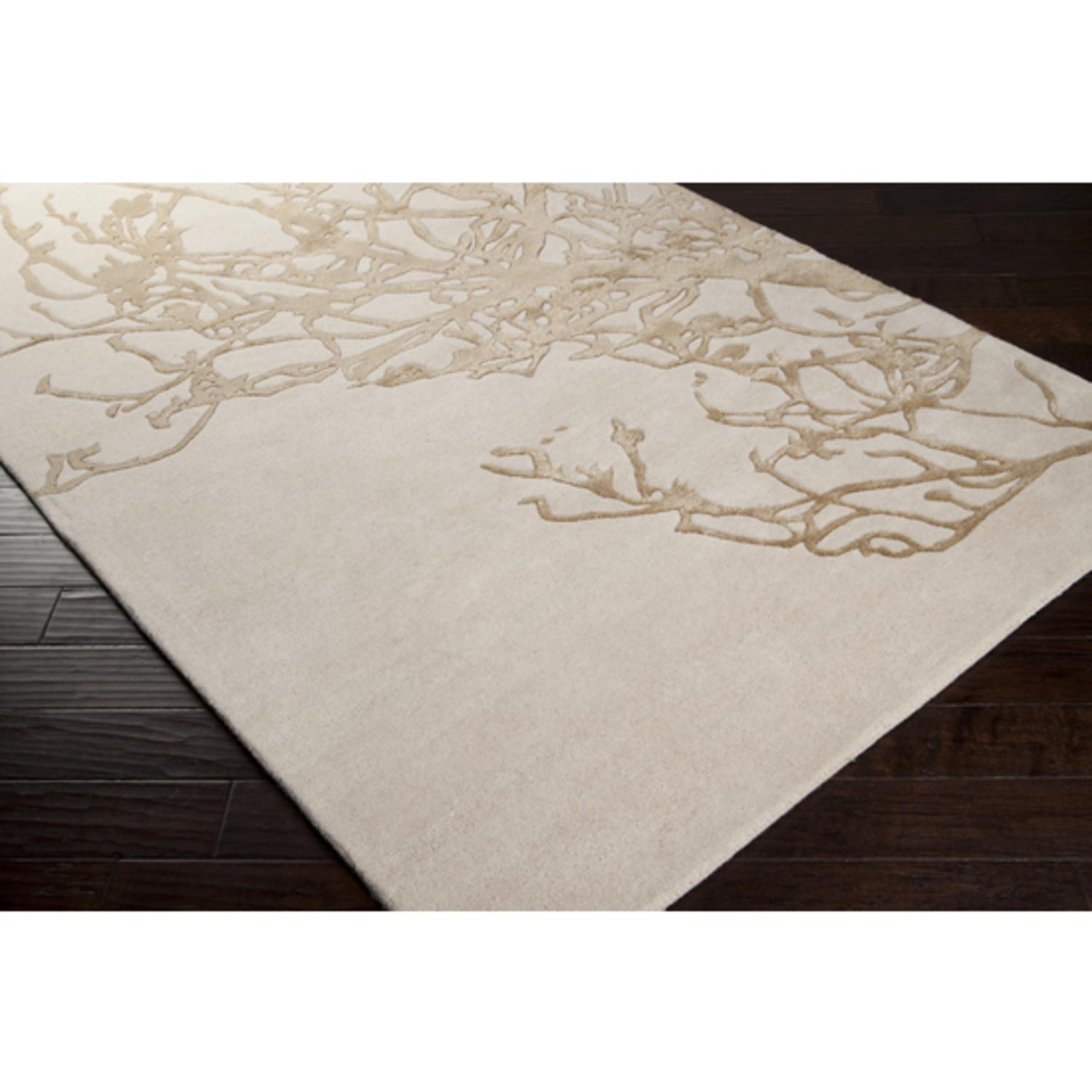 8' x 11' Salsola Tan and Peach Cream Wool Area Throw Rug