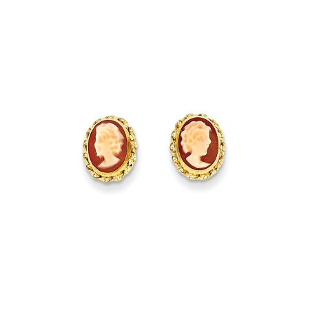 14k Gold Cameo Earrings (14k Yellow Gold Cameo Post Stud Earrings For Women Gift)