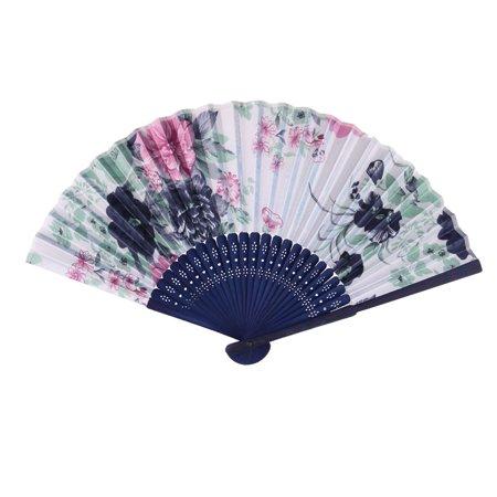 - Wedding Bamboo Frame Flower Pattern Folding Cooling Dancing Hand Fan Navy Blue