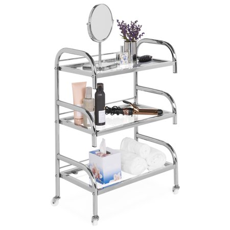 Best Choice Products 3-Tier Multifunctional Portable Rolling Steel Bathroom Storage Stand Salon Spa Utility Trolley Cart with Glass Shelves, 4 Detachable Wheels, Chrome