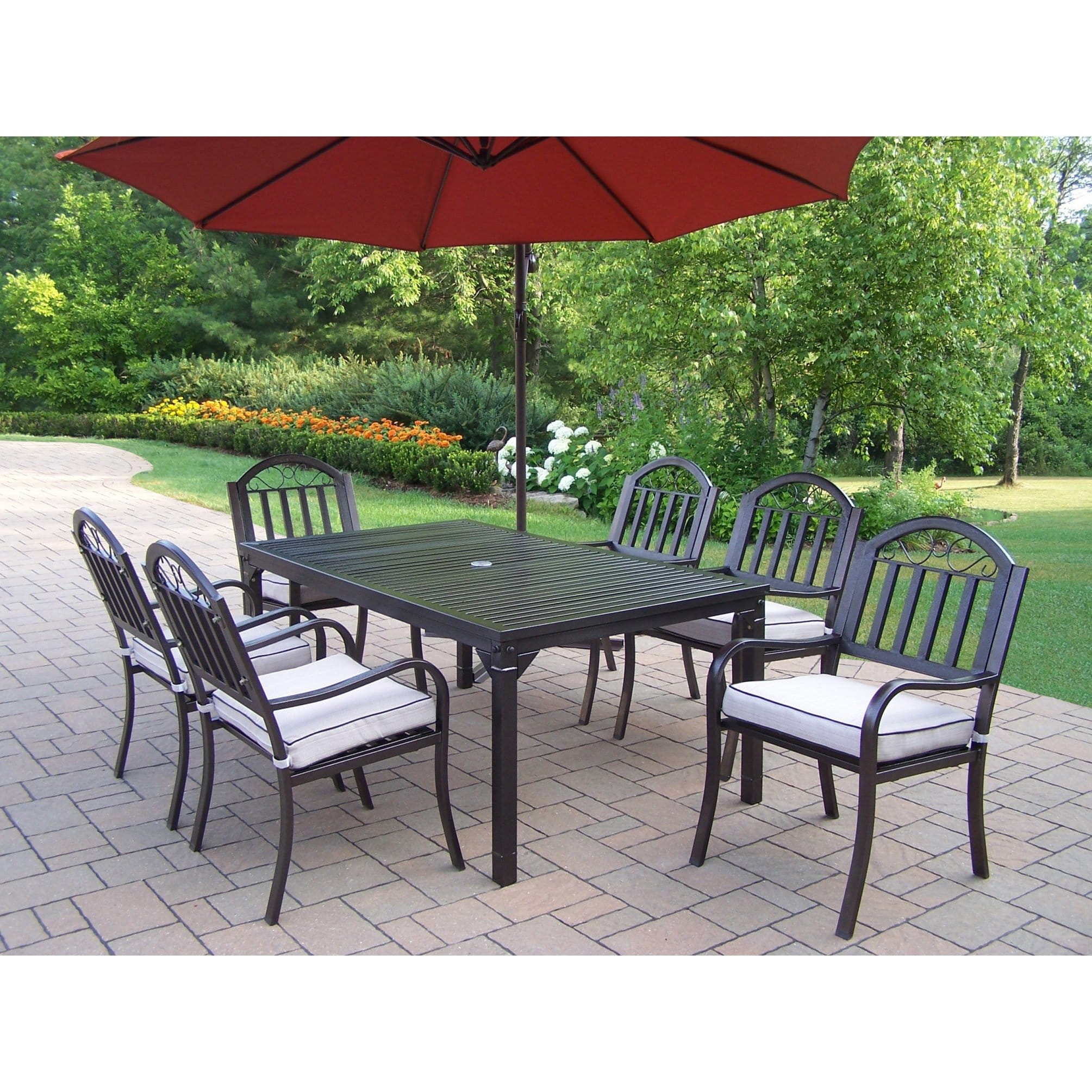 Oakland Living Corporation Hometown 8-Piece Cushioned Outdoor Dining Set with 10-ft Umbrella