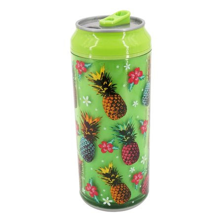 Coolgearcan (16 oz, Green Pineapple) Plastic, BPA Free, Double Wall, Twist lid, Spill Proof (Twist Lid Cup)