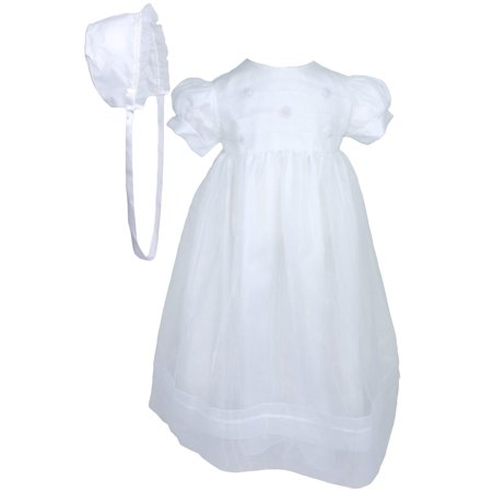 Baby Girls White Organza Sheer Flowers Bonnet Christening Dress Outfit - Christening Dresses