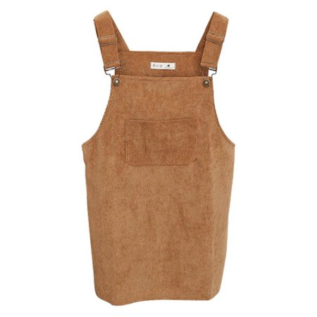 Women Solid Lovely Corduroy Suspender Skirt Overall Vest Retro Jumpsuit Dress