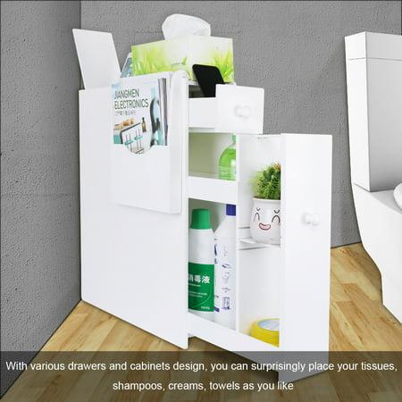 Bath Toilet Cabinets Drawers Stand Space Saver Storage Organizer for Kitchen Bathroom ()