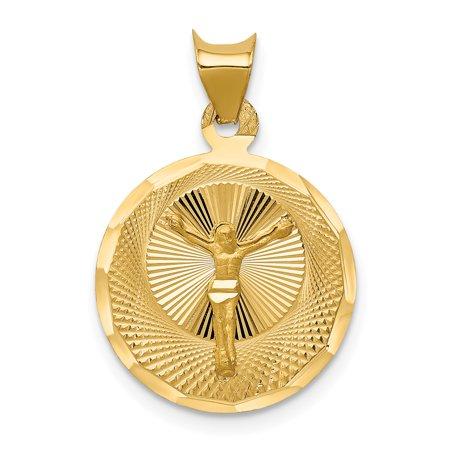 14k Yellow Gold Corpus Circle Pendant Charm Necklace Religious Crucifix