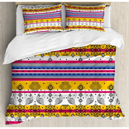 Ambesonne Tribal Colored Indian Paisley Details with Anim...