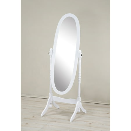 Roundhill Traditional Queen Anna Style Wood Floor Cheval Mirror, White Finish
