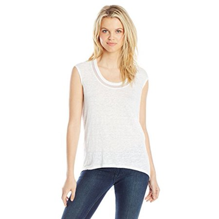 DKNYC Women's Linen Jersey Draped Back Tee with Mesh, White, Large