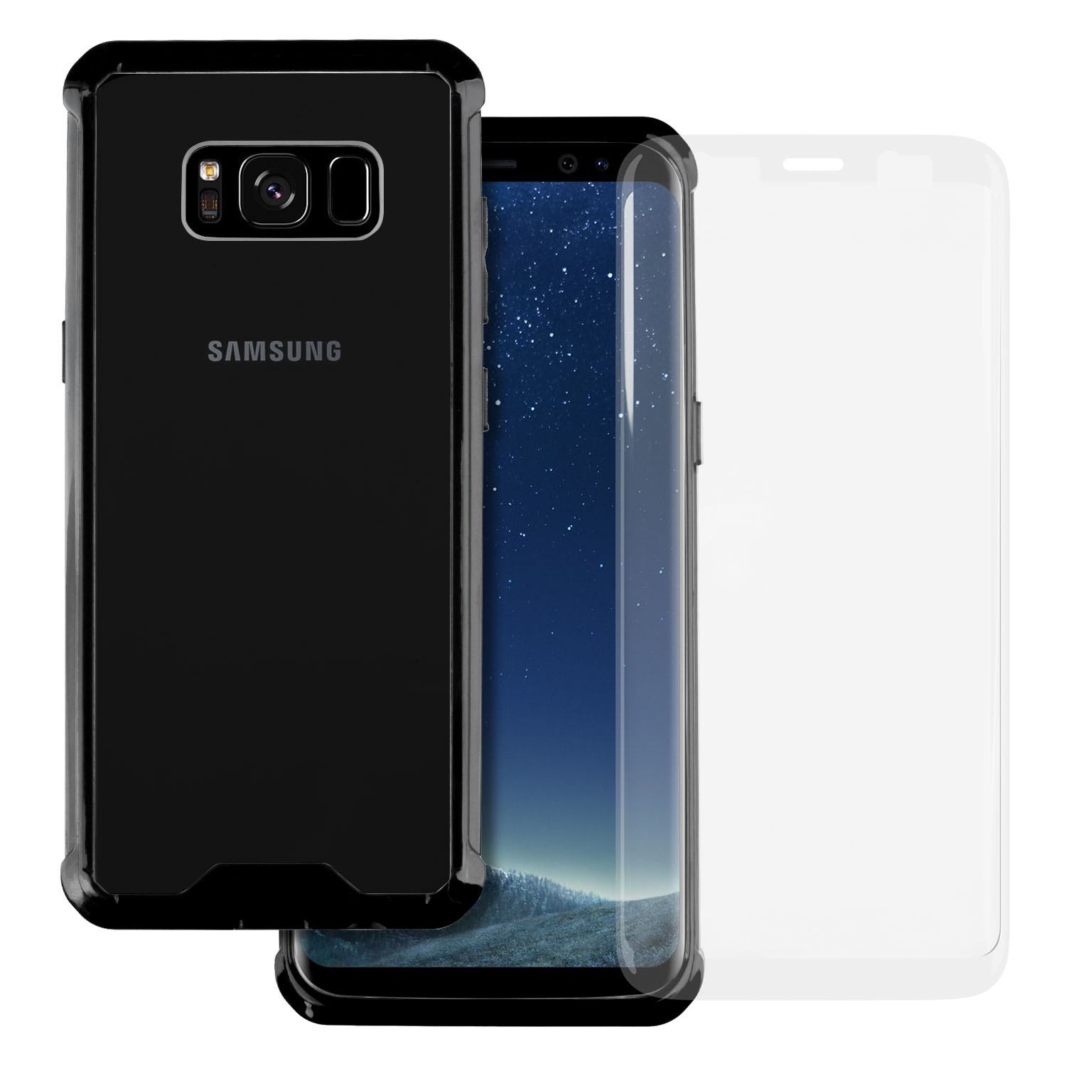Samsung Galaxy S8 Plus TortugaArmor Corner Edge Air Pocket Bumper Case Hard Clear PC Backplate [Drop Protection] [Clear] Flexible TPU Case for Samsung Galaxy S8 Plus [ Including Tempered Glass ]