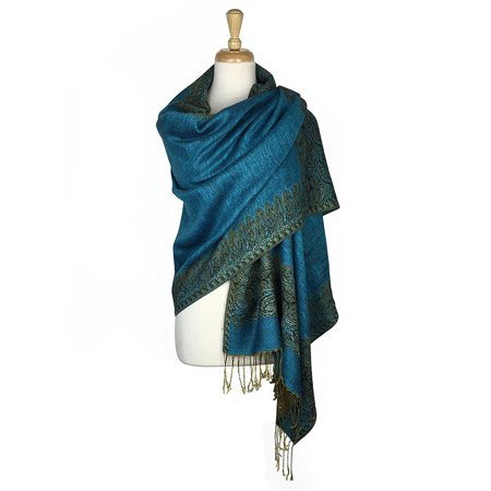 Layer Scarf - Paskmlna® Border Pattern Double Layered Reversible Woven Pashmina Shawl Scarf Wrap Stole #11