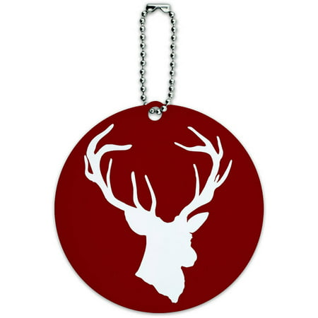 Deer Hunter Buck Hunting Round Luggage ID Tag Card for Suitcase or