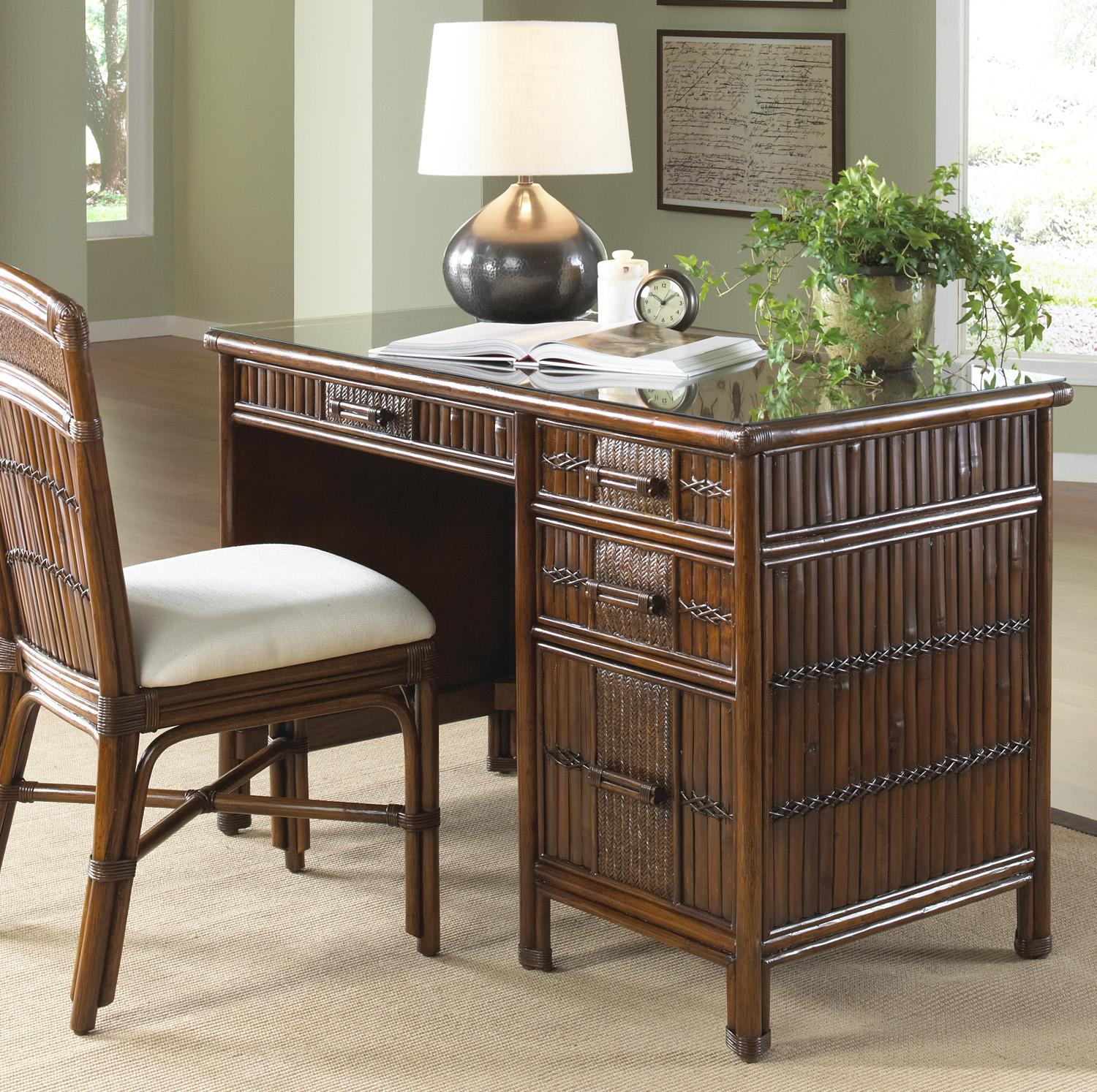 Polynesian Rattan & Bamboo Desk with glass