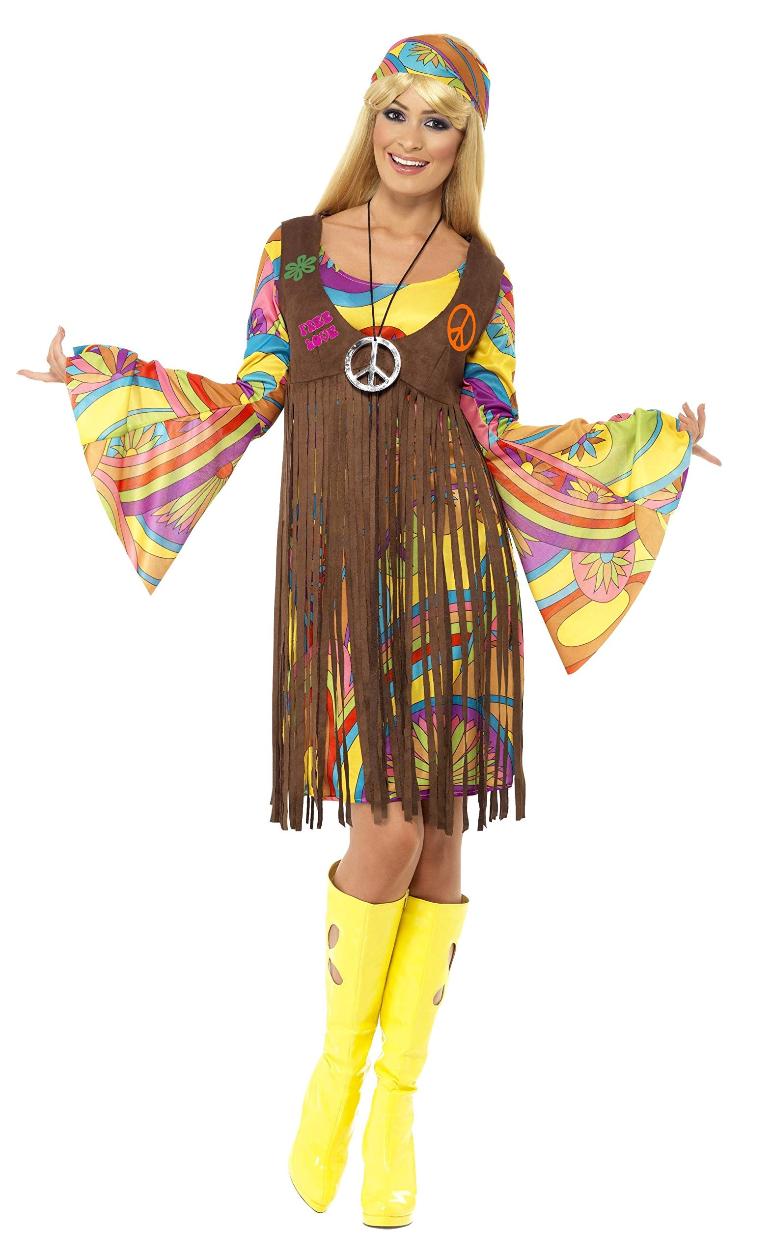 womens 60s 70s hippie girl peace dress and waistcoat