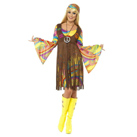Womens 60s 70s Hippie Girl Peace Dress And Waistcoat Costume (60s 70s Dress Up)