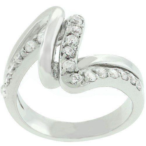 Kate Bissett White Gold Bonded Cubic Zirconia Lace Ring