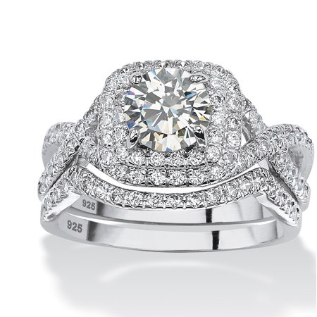 698e116a11d847 Palm Beach Jewelry - 2.20 TCW Round Cubic Zirconia Two-Piece Double Halo  Bridal Ring Set in Platinum over Sterling Silver - Walmart.com