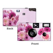 5pack-Pink Gerbera Disposable Cameras, free shipping, Wedding Cameras, Anniversary Camera, Party, Sweet 16, Quinceanera, Disposable Cameras from CustomCameraCollection WM-80022-C