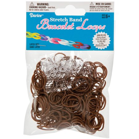 Darice Accessory Loops - Darice Stretch Band Bracelet Loops and S Clips Brown