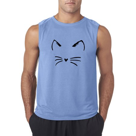New Way 1128 - Men's Sleeveless Cat Whiskers Silhouette Heart Nose Small Carolina Blue (Cat Nose And Whiskers For Halloween)