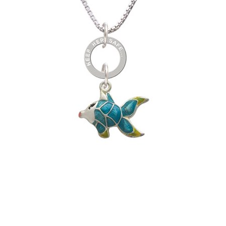 Keeping Tropical Fish - Blue Tropical Fish with Yellow Fins - She Believed Eternity Ring Necklace
