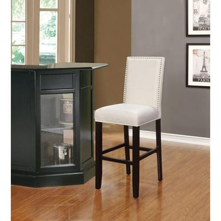 Astounding Linon James White Black Wood Foam Fabric 30 Inch Bar Stool Andrewgaddart Wooden Chair Designs For Living Room Andrewgaddartcom