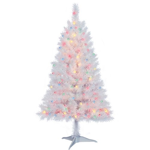 holiday time pre lit 4 indiana spruce artificial christmas tree white multi color lights walmartcom