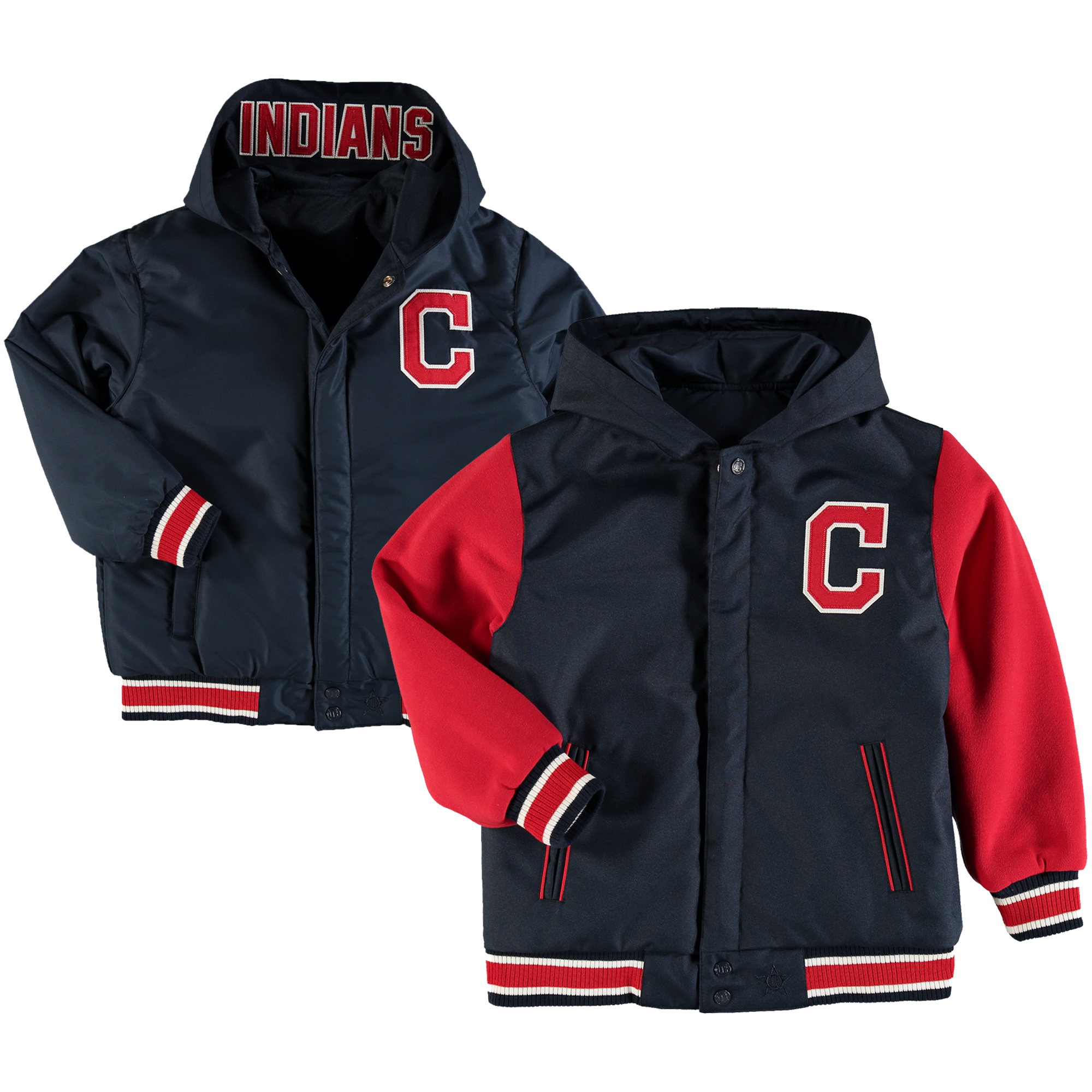 Cleveland Indians JH Design Youth Reversible Hooded Jacket - Navy/Red