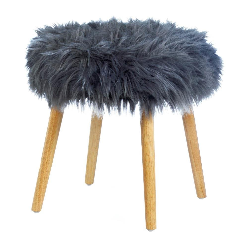 Fluffy Stool, 4-legged Contemporary Dorm Furniture Footstool Faux Fur, Wood by Accent Plus