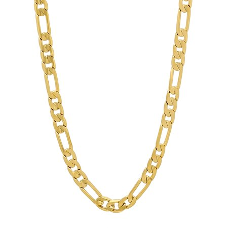 - Gold Figaro Plated Chain 12MM Fashion Jewelry Necklaces, 14K Overlay, Resists Tarnishing -24