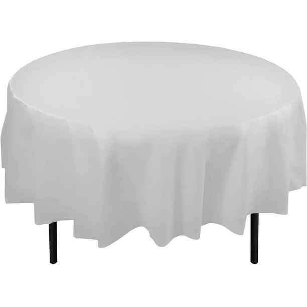 Bulk Premium Plastic Disposable 84 Inch Round Tablecloth White Round Table Covers 12 Pack Walmart Com Walmart Com