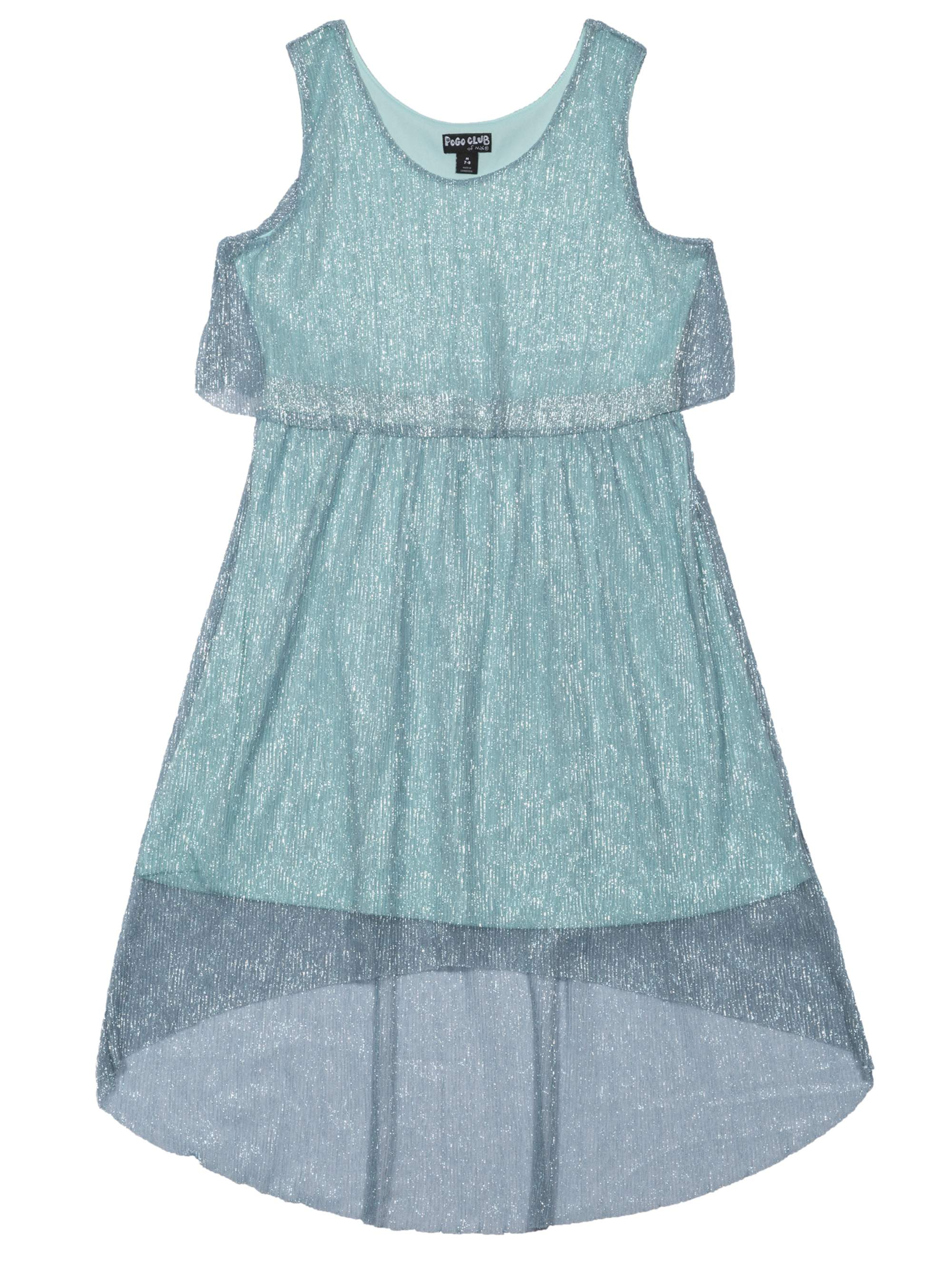 Girls' Fancy Crinkle Mesh Metallic Dress