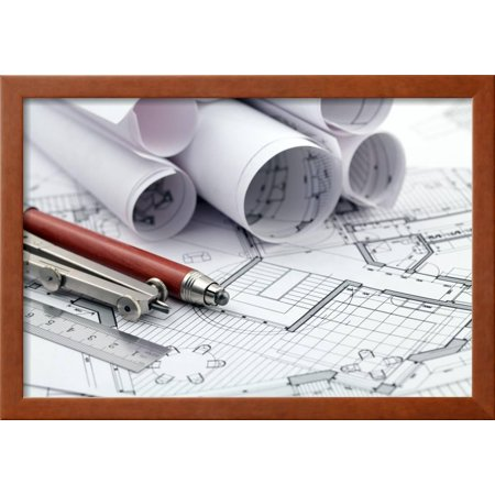 Rolls of architecture blueprint and work tools ruler pencil rolls of architecture blueprint and work tools ruler pencil compass framed print wall art by vladimir malvernweather Gallery