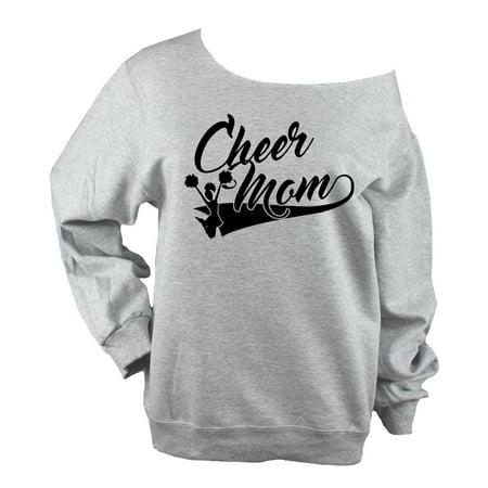 Cheer Mom Off Shoulder  Sweatshirt UNISEX  SWOOP with Cheerleader  Light Heather Grey Raw Edge  (Glitter or Vinyl) (Cheer Coach Sweatshirt)