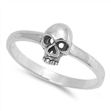 Sterling Silver Women's Biker Skull Ring (Sizes 4-12) (Ring Size -