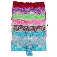 ToBeInStyle Women's Pack of 6 Rose Bloom Lace Boyshort Panties