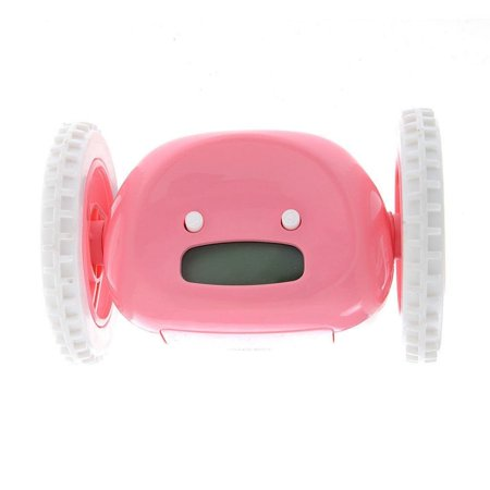 Runaway Alarm Clock Funny Running Alarm Clock for Adults and Kids(Pink)