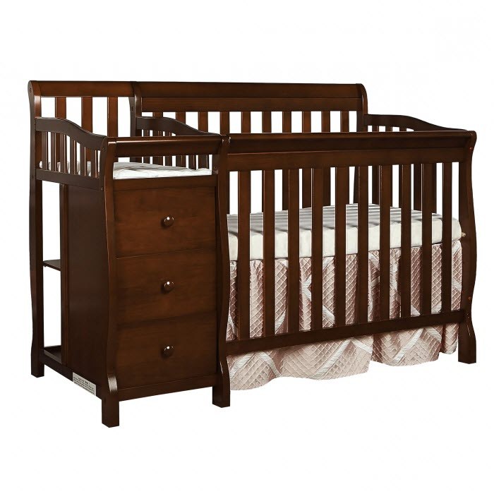 Dream On Me, Jayden, 4-in-1 Mini Portable Convertible Crib With Changer, Cherry by Dream On Me