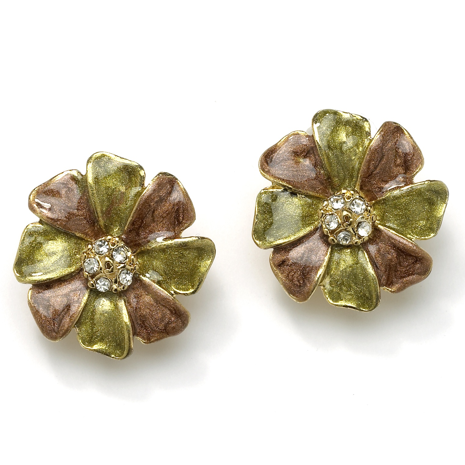 Enamel and Crystal Flower Clip On Earrings in Yellow Gold Tone