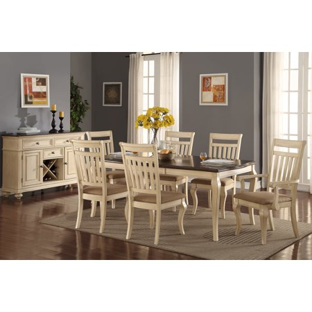 Formal Traditional Dining Room Furniture 7pc Set Cream Color 4x Side And 2 X Arm