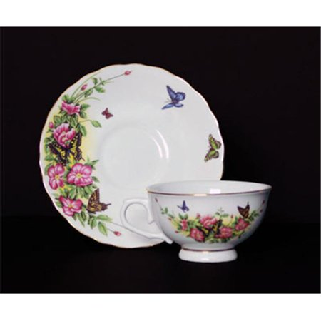 Euland China SCO-002WRCS 8-Piece Cup And Saucer Set - Butterflies And Wild Roses