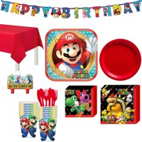 Super Mario Birthday Party Kit, Includes Happy Birthday Banner and Birthday Candles, Serves 16 , by Party City