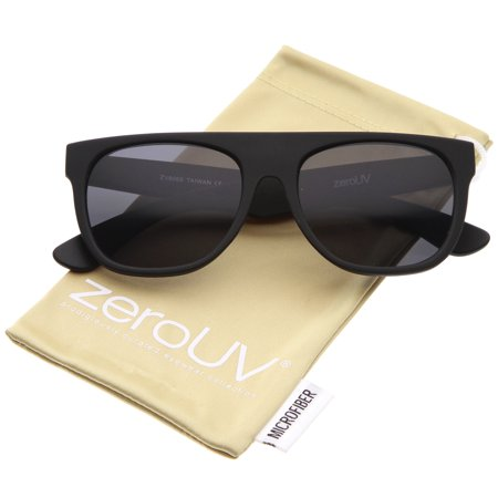 zerouv - modern super flat-top wide temple horn rimmed sunglasses 55mm - 55mm zerouv - modern super flat-top wide temple horn rimmed sunglasses 55mm (rubberized black / smoke)