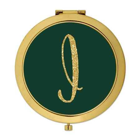 Andaz Press Gold Compact Mirror Bridesmaid's Wedding Gift, Emerald Green, Monogram Letter I, - Monogram Wedding Letter