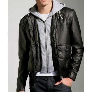Men's Soft Lambskin Hooded Leather Bomber Jacket - Contem...