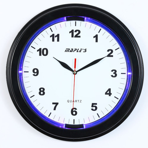 Maple's 13-Inch Wall Clock with LED Accent Light, Black