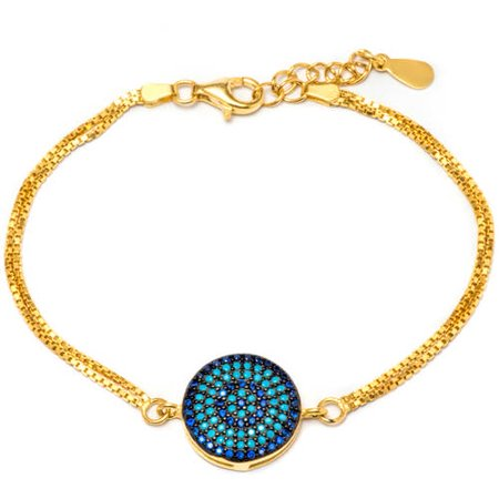 14kt Gold Plated .925 Sterling Silver Bracelet with Sapphire and Nano Turquoise Stones ()